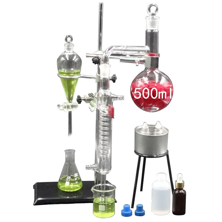 New Glass Essential Oil Steam Distilling Apparatus Hydrosol Distillation Kits