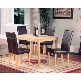 50% SALE::: SOLID WOOD / PINE WOOD DINING TABLE / SET WITH 4 PU LEATHER CHAIRS - GET IT TODAY