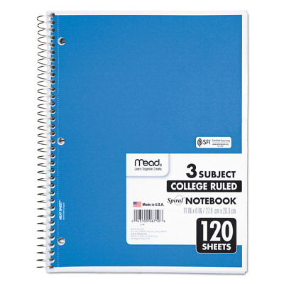 Mead Spiral Bound Notebook Perforated College Rule 11 X 8 12 White 120 Sheets