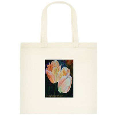 CANVAS TOTE / BOOK BAG WITH PRINT OF ORIGINAL ART - Orange Emperor Tulip - NEW