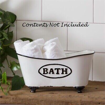 Clawfoot Bathtub Caddy - Chippy White Clawfoot Bathtub French Country Distressed Storage Chic 11.5