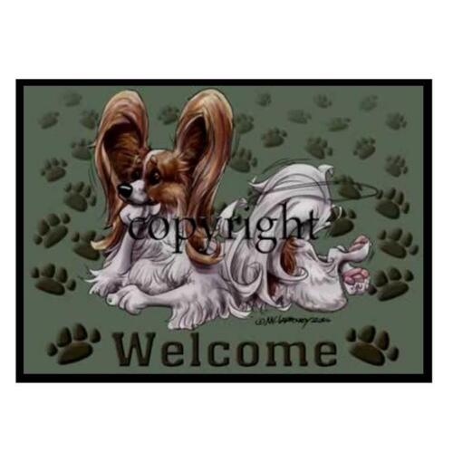 Papillon Dog Breed Paws Cartoon Artist Welcome Doormat Floor Door Mat Rug