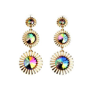 Colorful Rainbow Rhinestone Blooming Flower Drop Earrings For Lady Bling Jewelry Blooming Flower Drop Earrings