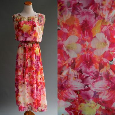 - Vince Camuto Bright Photorealistic Tropical Floral Orchid Print Maxi Dress S M