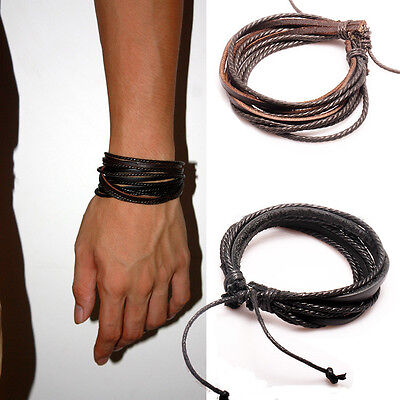 2PCS Lot Mens Girls Wrap Leather Charm Bracelet Women Fashion Jewelry Chain](Girls Charm Bracelets)