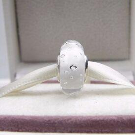 Genuine Pandora Murano White Fizzle charm 791617CZ