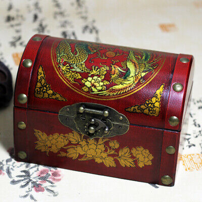 Green Leather Beautiful Phoenix Peony Wooden Jewelry Box Vintage Collection Old