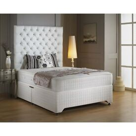 🔥💗🔥BLACK GREY & WHITE💗🔥💗New 4FT6 Double & King Divan Base w 10 INCH WHITE ORTHOPAEDIC Mattress