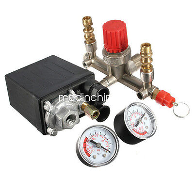 125 Psi Air Compressor Pressure Valve Switch Manifold Relief Regulator Gauges Us