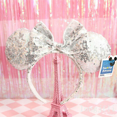 Animal Minnie Mouse Stirnband silbrig Pailletten Festival Ohr - Minnie Pailletten Ohren