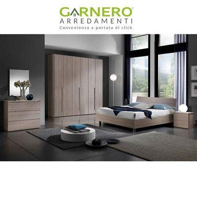 Camera da letto completa Omega legno design moderno comò comodini armadio 6 ante