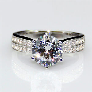 2ct Diamond White Gold Solitaire Engagement Ring Solid 9k White Gold Any Size