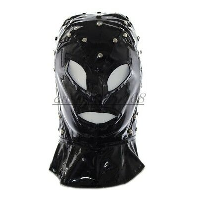PVC Faux Leather Head Hood Costume Open Eye Devil Mask Dungeon Halloween - Leather Devil Costume