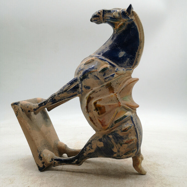 """9.1/"""" Collect Old Chinese Ceramics Tang Sancai Pottery Ancient War-horse Statue"""