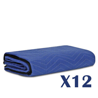 12 Moving Blankets Furniture Pads - Pro Economy - 80 X 72 Navy Blue And Black
