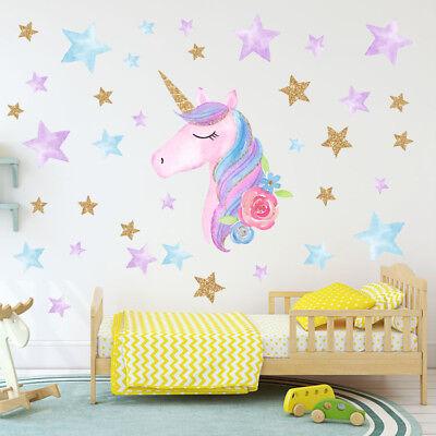 US Rainbow Unicorn Wall Sticker Girls Bedroom Wall Decal Art Nursery Home - Decorative Girls