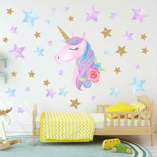 Home Decoration - US Rainbow Unicorn Wall Sticker Girls Bedroom Wall Decal Art Nursery Home Decor