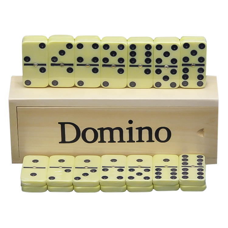 Dominospiel 28 Dominosteine in Holzbox Domino Spiel Домино