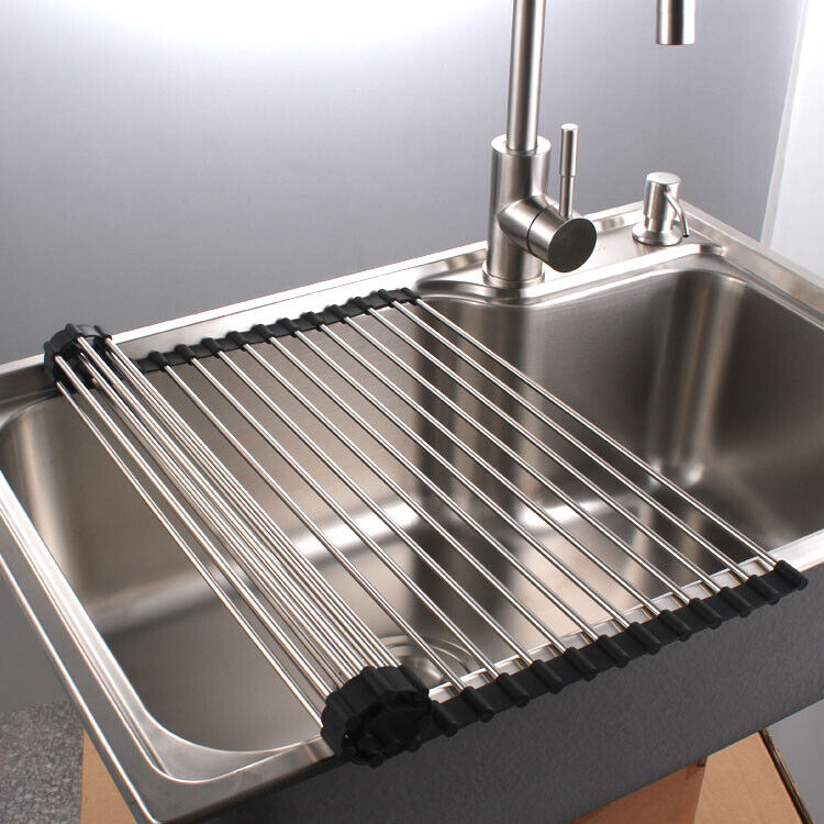 Roll Up Drying Dish Rack Over Sink Stainless Steel Foldable