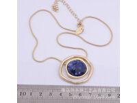LIA SOPHIA blue gemstone gold plated pendant statement necklace