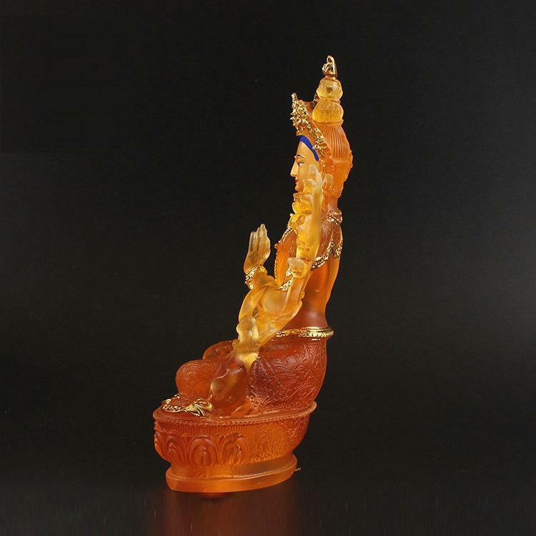 Exquisite Tibet Buddhism Hand painting resin statue Arya Avalokiteshvara GUANYIN