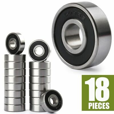 18PCS 608-2RS Ball Stainless Bearings Skateboard Roller Wheel 8x22x7mm 608RS