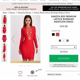 BNWT Red bandage dress in size 8 and 10