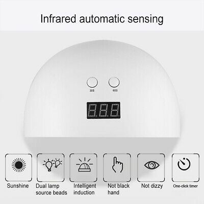24W LED Nail Dryer UV Lamp Gel Nail Polish Fast Curing Light Timer Sensor Salon