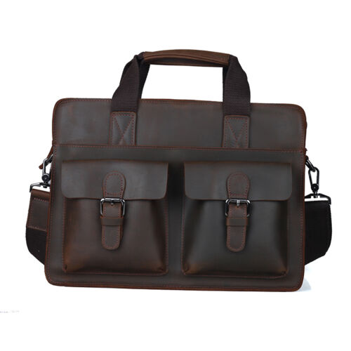 "Cool Vintage Style Mens Briefcase High Quality Leather 16"" Laptop Shoulder Bag"