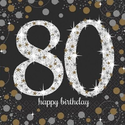 80th Birthday Napkins (80th Luncheon Napkins Sparkling Celebration Birthday [16ct] Party)