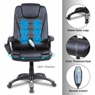 Executive Massage Office Chair Heated Vibrating Ergonomic Computer Desk Black