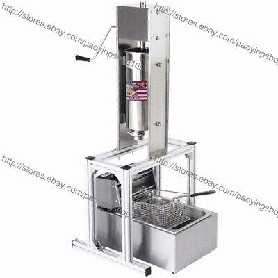 Heavy Duty Manual Vertical 5l Spanish Churrera Churros Machine Maker W 6l Fryer
