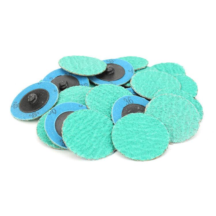 """25 Pack - 2"""" 36 Grit Zirconia+Grind Aid Quick Change Sanding Discs Type R Roloc"""