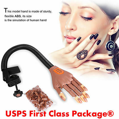 Flexible Nail Art Practice Training Hand Trainer Finger Refit +100 Replace Nails