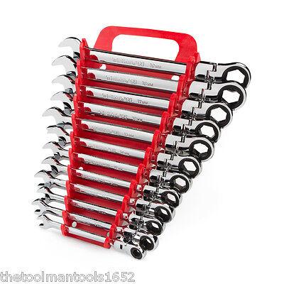 TEKTON 12-pc. Flex-Head Ratcheting Combination Wrench Set (8-19 mm)