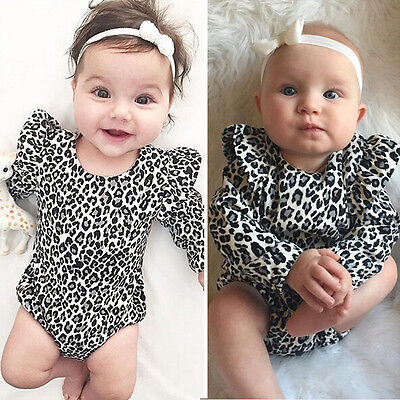 US Stock Baby Girls Long Sleeve Leopard Romper Spring Bodysuit Clothes Outfits - Girls Spring Clothing