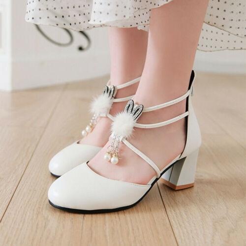 Cute Ladies Spring Block Heels Cross Strap Pumps Zipper Casual Party Shoes UK SZ