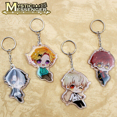 4 pcs Anime Mystic Messenger Keychain Keyring Ornament Cosplay Otaku Collection