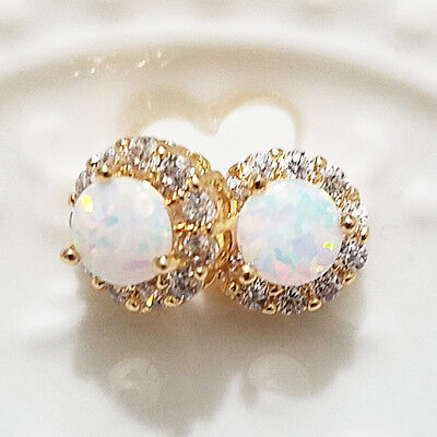 2 Ct Round White Fire Australian Opal Stud Earrings 14K Yellow Gold Jewelry E46