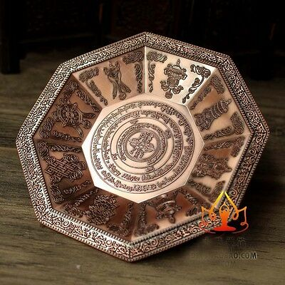 Buddha Tibet Tibetan Buddhist Eight Symbols Offering Fire Plate Bowl Vessel