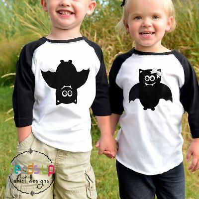 Boy Girl Twin Baby Halloween Costumes (Twin Halloween Bat Shirts Boy and Girl Toddler Baby Siblings Trendy Costume)