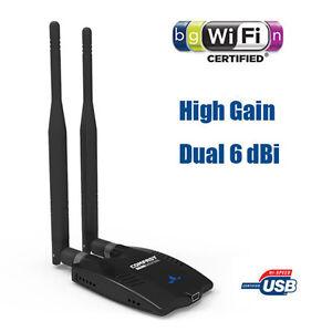Long Range Wireless N WiFi USB Adapter 150Mbps 2x 6dBi Antenna Desktop / Laptop