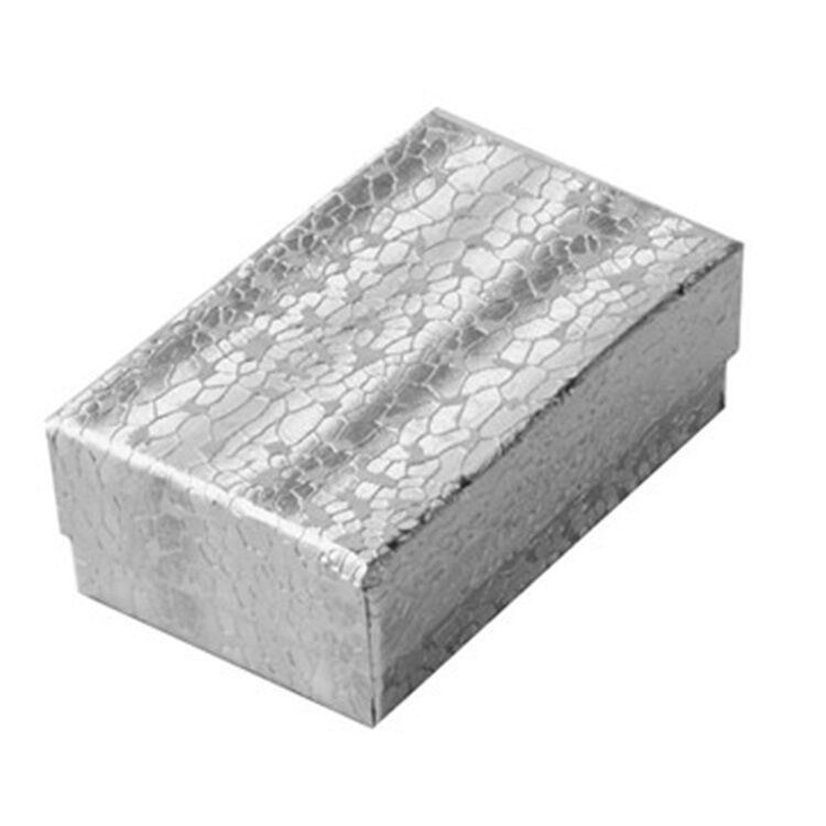 """Lot of 100 Small Silver Cotton Fill Jewelry Gift Boxes 1 7/8"""" x 1 1/4"""" x 5/8"""""""