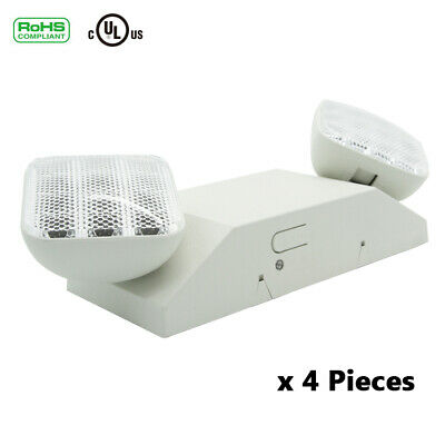 4pc Emergency Exit Light Led Lamp Lighting Fixture Twin Square Heads Ul Listed