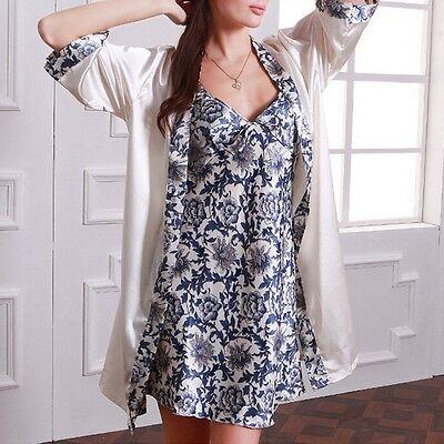 New Women Faux Silk Nightdress Nightwear Pajamas Set Bath Robe Gown Sleepwear