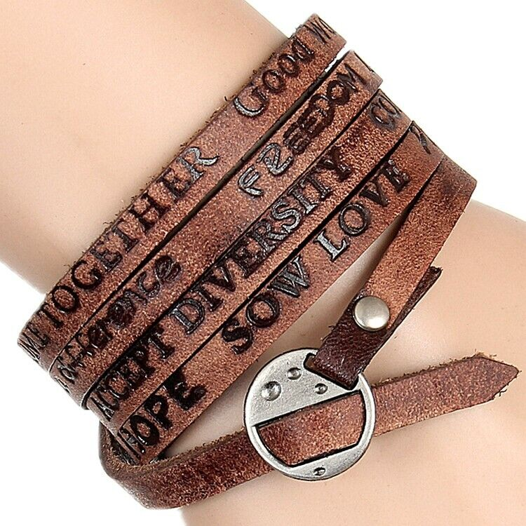 Punk Multi Layer Leather Men Womens Wrap Bracelet Wristband Bangle Cuff Jewelry Bracelets