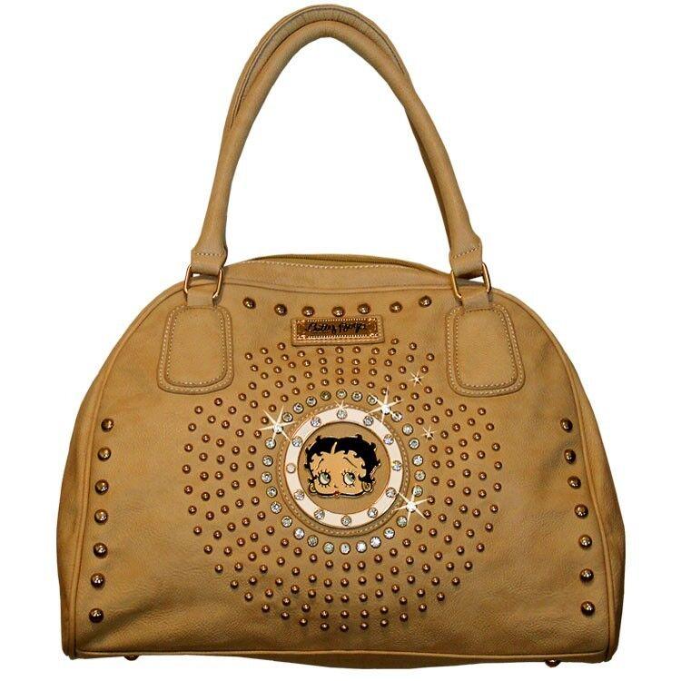 Betty Boop Curvetop Rhinestone Satchel Bag by Sharon Purse Handbag Beige KF-4003