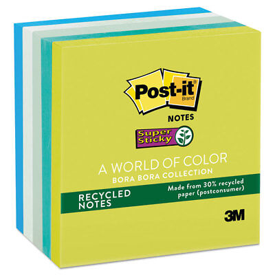 Post-it Recycled Notes In Bora Bora Colors 3 X 3 90-sheet 5pack 6545sst