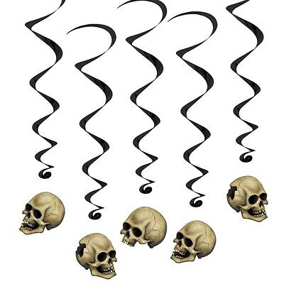 5 BIG Skull Halloween Cool Party Hanging Goth Rock Decorations Twirlies - Halloween Decorations Party Rock