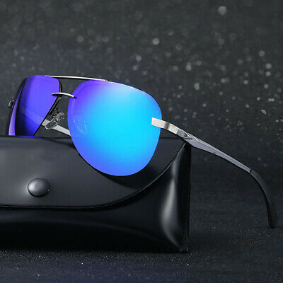 Men's Aviator Pilot Polarized Mirrored Lens Driving UV400 Sunglasses w/ Case ()